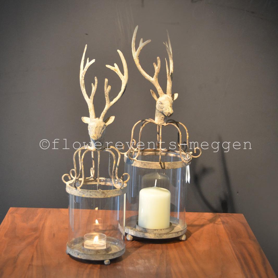 windlicht aus metall und glas mit hirschkopf. Black Bedroom Furniture Sets. Home Design Ideas